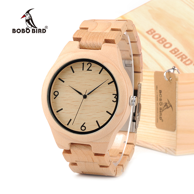 BOBO BIRD H01 Men's Design Maple Wood Wristwatch With Maple Strap Men's Quartz Watch Japanese Movement in Gift Box bobo bird bamboo wood quartz watch men women japanese majoy movement soft silicone strap casual ladies watch wristwatch for gift