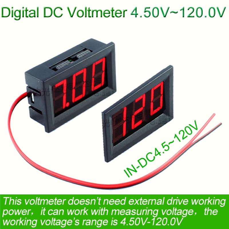 Voltímetro digital de 4.5V ~ 120V voltimetro Car Electromobile Batería de motocicleta Voltaje probador de fuente de alimentación electrónica doctor