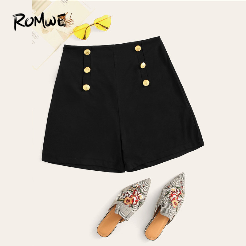 ROMWE Black Double Breasted High Waist Chic Shorts Woman 2019 High Street Solid Zipper Fly Tailored Summer Shorts