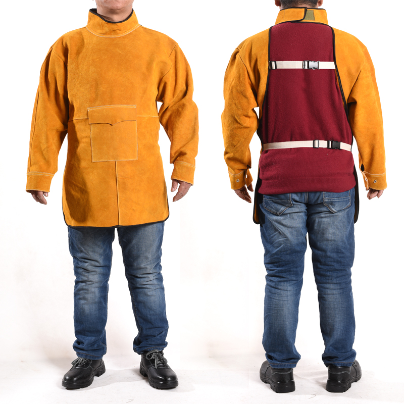 все цены на Cowhide electric welding protective clothing welder welding argon arc welding work clothes inside out apron Heat resistant