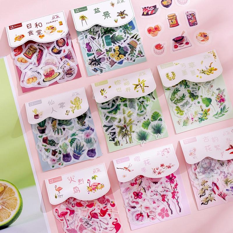 40 Pcs/pack Cute Plant Flamingo Bullet Journal Decorative Stickers Scrapbooking Stick Label Diary Stationery Album Kawaii Flower