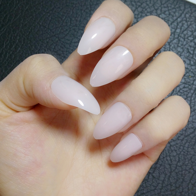 24Pcs Candy Faux Ongle Stiletto Nails Clear Light Pink Acrylic False ...
