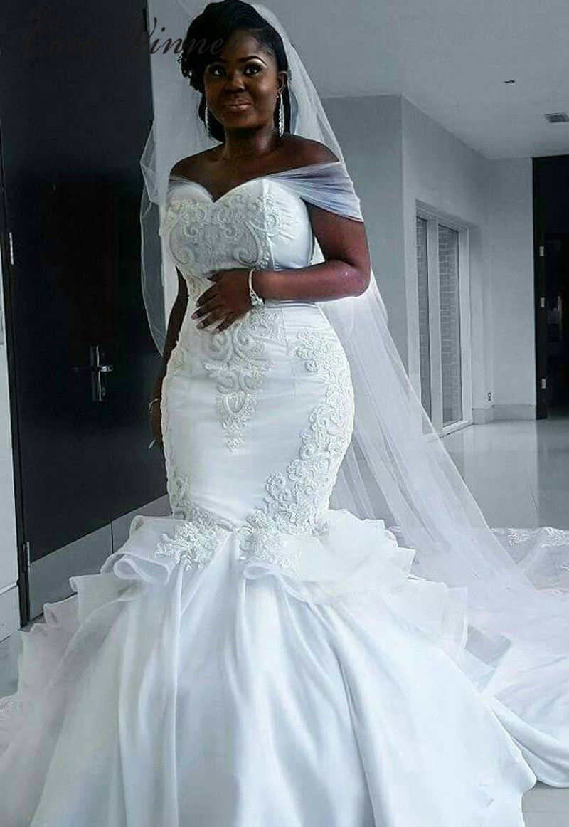Elegant Satin Vintage Mermaid Wedding Dress 2020 With Long Wrap Pure White Lace Embroidery African Mermaid Wedding Gown W0216