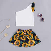2018 Baby Girl Clothes Backless Sleeveless T-shirt+sunflower Skirt 2 Piece Set Girl Skirt Suit Baby Girl Outfits