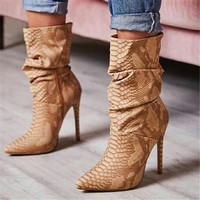 EMMA KING Vintage Pleated Snake Print High Heels Ankle Boots Women Sexy Snakeskin Stiletto Evening Party Night Club Shoes Women