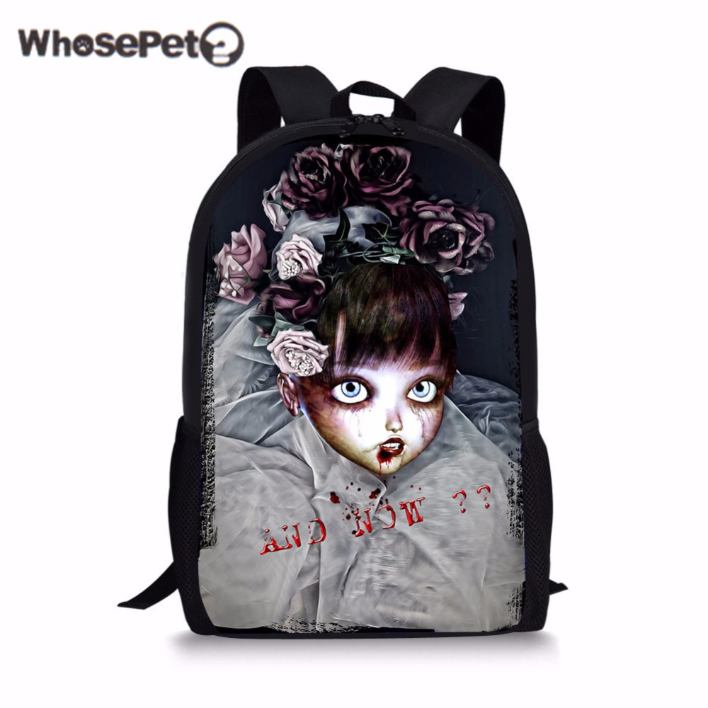 WHOSEPET  Unicorn Schoolbag Punk Style Book Bag Hot Sale Fashion Cool School Girls briefcase Classic Skull Bags Mochila Vintage