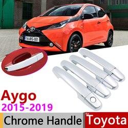 for Toyota Aygo MK2 2015~2019 Luxuriou Chrome Exterior Door Handle Cover Car Accessories Stickers Trim Set 2016 2017 2018