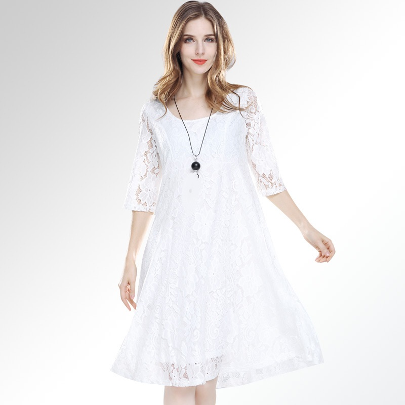 Us 3135 34 Offnew2018spring Fashion Ladies Plus Size Elegant Lace Dress Half Sleeve Loose Fit Dress Party Beautiful Temperament Vestidos Xxxl In