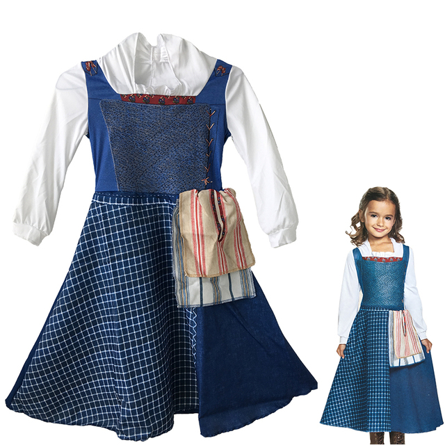 girl cartoon beauty and the beast belle costume halloween costumes belle village blue dress for children