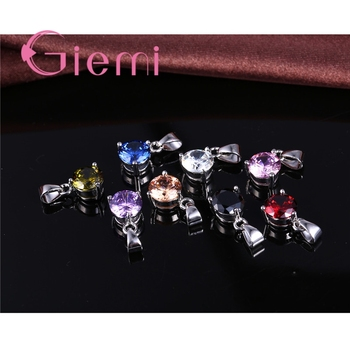 8 Colors 925 Sterling Silver Wedding Elegant Jewelry Sets Crystal Pendant Collar Necklace Earrings Women Decoration Set 1