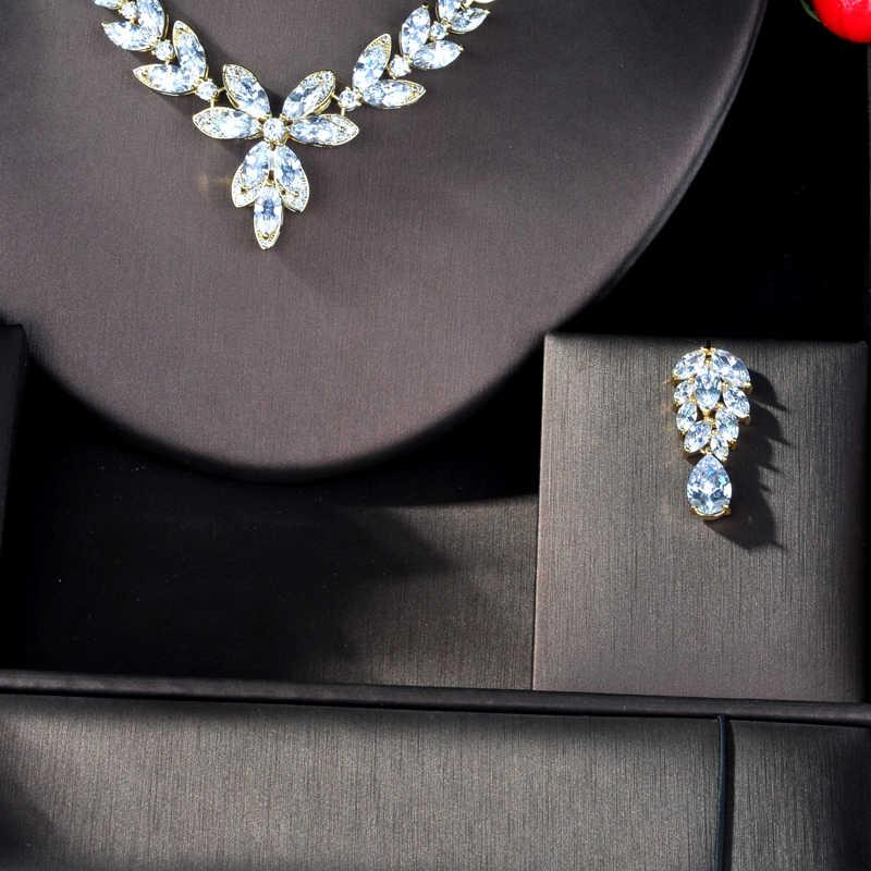 HIBRIDE Mode Österreichischen Kristall Gold Farbe Cubic Zirkon Frauen Braut Schmuck Sets Für Party Zubehör Schmuck Geschenke N-939