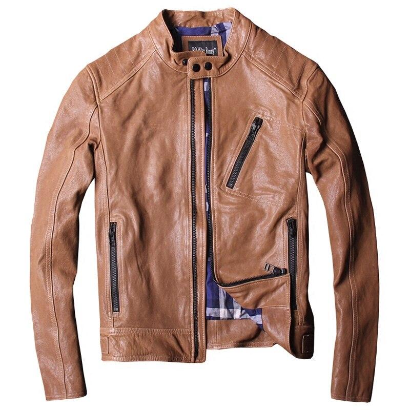 2018 Для мужчин коричневые кожаные байкерские куртки Плюс Размеры XXXL из натуральной овчины Slim Fit Короткие кожаные мотоциклетные пальто беспл...