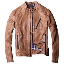 2018 Men Brown Biker Leather Jacket Plus Size XXXL Genuine Sheepskin Winter Slim Fit Short Leather Motorcycle Coat FREE SHIPPING