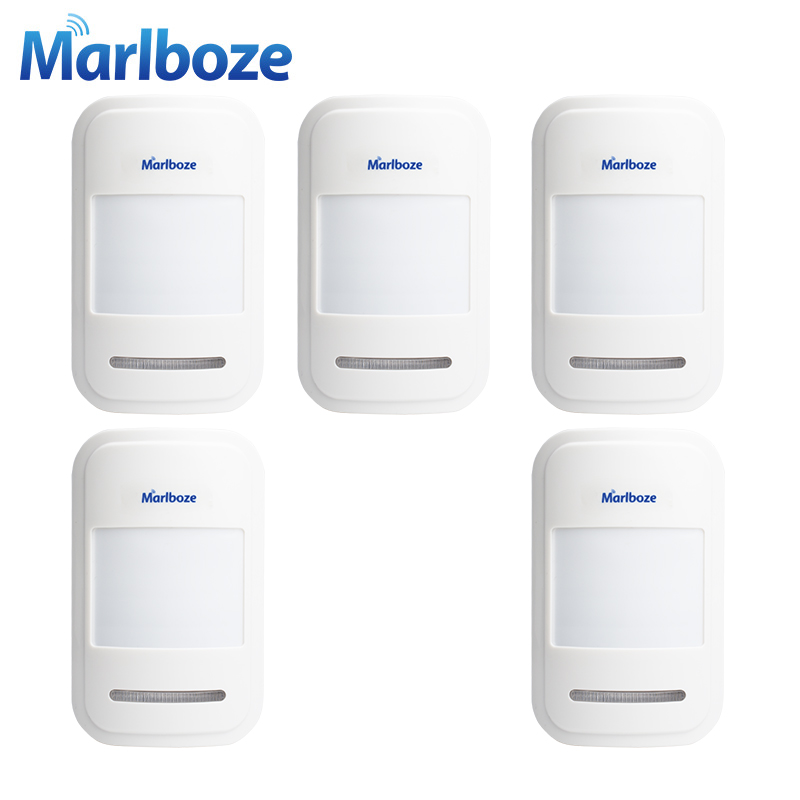 Marlboze 5pcs/lot High-grade 433MHz Wireless Infrared detector PIR Motion Sensor for Home Security GSM WIFI PSTN Alarm System 2pc lot wireless pir detector for gsm pstn home security alarm system wireless 433mhz indoor pir motion sensor
