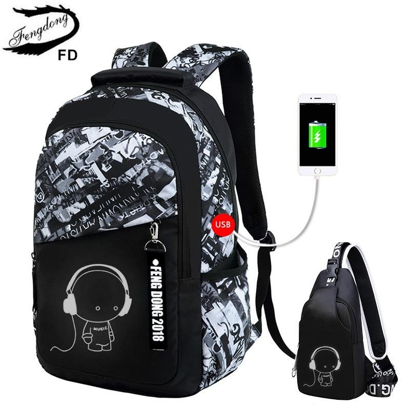 FengDong мальчиков школьные сумки буквы водонепроницаемый большой рюкзак для подростков школу рюкзак для мальчика повседневные туфли для студентов дорожная сумка