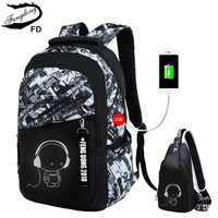 FengDong Boys School Bags Black Waterproof Large Backpack For Teenagers High School Backpack For Boy Student