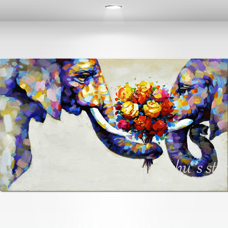 Us 29 28 49 Off Hand Painted Abstract Elephant Couples Oil Paintings On Canvas Children S Room Wall Art Pictures Wall For Living Room Home Decor In