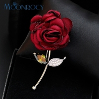 Free Shipping Fashion Jewelry Wholesale Platinum Plated Austrian Crystal Brooch New Red Rose Flower For Women