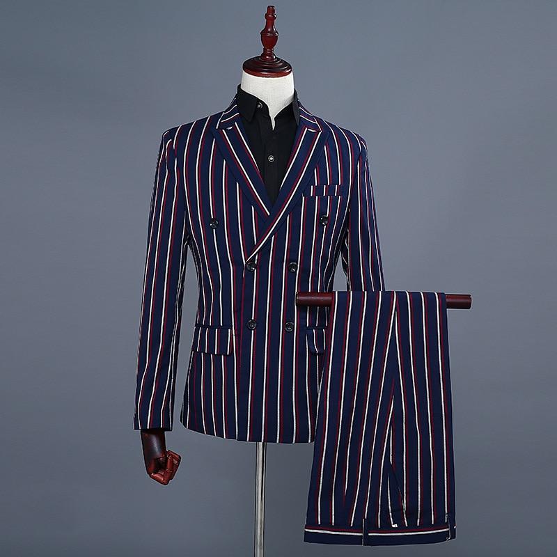 Simple Formal Suits Men 2019 Long Sleeve Dress Mens Casual Prom For Blue Stripes Suit Slim Fit Clothing Two Piece Set Coat Pants