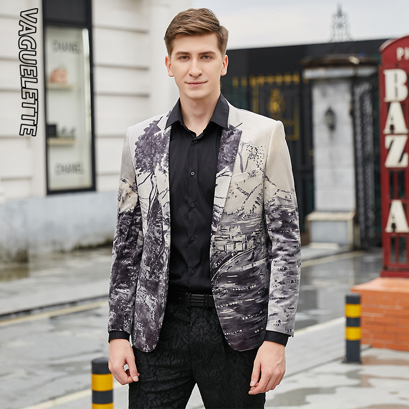 VAGUELETTE Elegant Mens Printed Blazer Slim Fit Casual Stage Clothes For Singers Luxury Velvet Stylish Wear For Men 2019 - 5