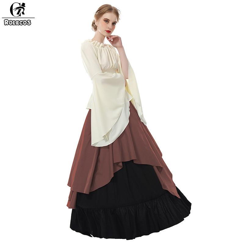 ROLECOS Women Medieval Dress Renaissance Victorian Evening Dresses 4 Color Cosplay Dress Ball Gown Vintage Victorian Dresses