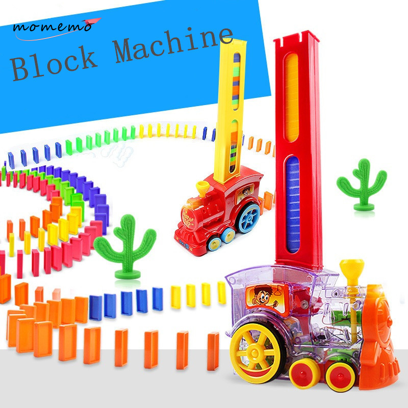 MOMEMO Dominoes Building Blocks Electric Train Track Automatic Placement Domino Electric Train Educational Toys for Childen Gift dominoes 3 moonstone ne