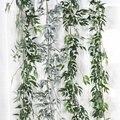 Willow simulação vime folhas verdes cana decoração do casamento conjunto de plantas de salgueiro rattan folhas casa jardim decorativo videira verde