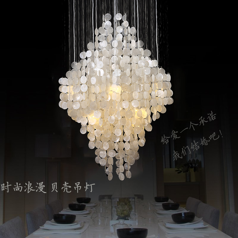 Modern Natural Shell Pendant Lighting Dining Room Bedroom Romantic Hanging Lamp