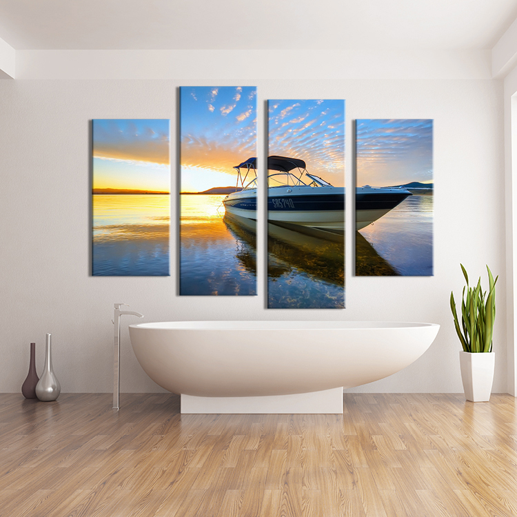 2016 Fallout Paintings 4pcs Beautiful Ocean Sunset Landscape Wall Painting Canvas Family Decoration Ideas No Framed Pictures