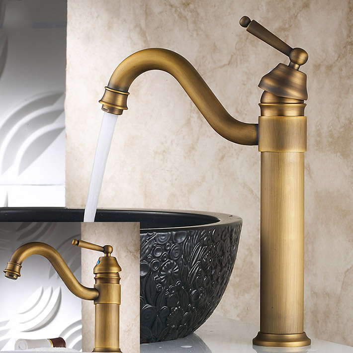 Vintage Style Tall Antique Brass Faucet Bathroom Sink Mixer Washbasin Taps With Single Handle