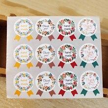 5 hojas de pegatinas hechas a mano 60 unids/lote pegatinas retro marca Kraft adhesivo DIY hecho a mano para regalo pastel hornear sellado adhesivo