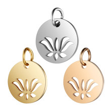 5pcs/lot 316L Stainless Steel Charms Silver Color Cut Out OM Yoga Lotus Sun Pendant for Jewelry Making DIY Handmade Craft