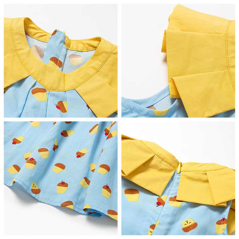 Мини-платье balabalaBaby платья для маленьких девочек коллекция 2019 года, новые летние тонкие детские хлопковые платья с круглым вырезом и надписью для новорожденных
