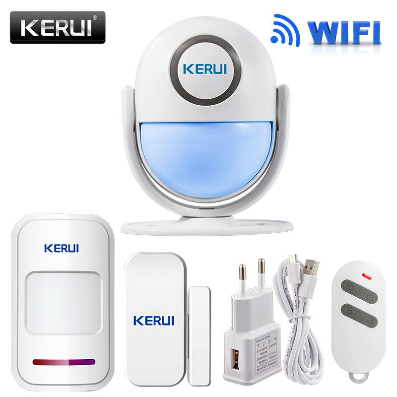 KERUI WIFI sistema de alarma de la seguridad casera DIY KIT IOS/Android Smartphone App 120dB PIR Panel principal puerta/ventana sensor de alarma antirrobo