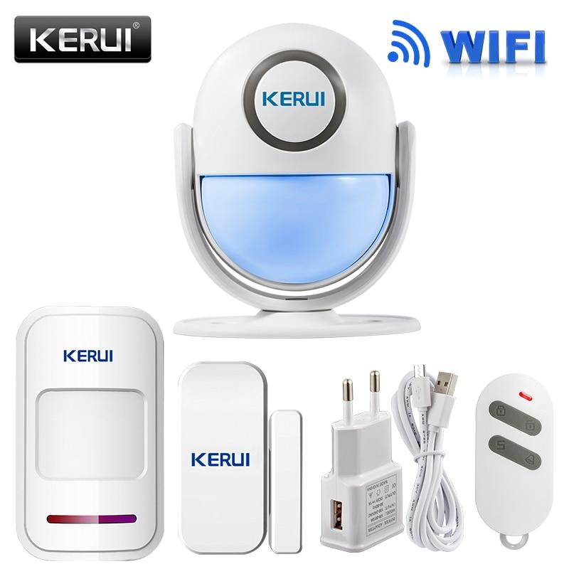 Kerui WiFi hogar Alarmas de seguridad kit DIY ios/Android Smartphone App 120dB PIR panel principal puerta/ventana del sensor alarmas antirrobo