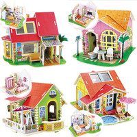 Kids Toys 3D Puzzles Wooden Toys DIY Wood Dream House Child Juguetes Educativos Cube Toys High