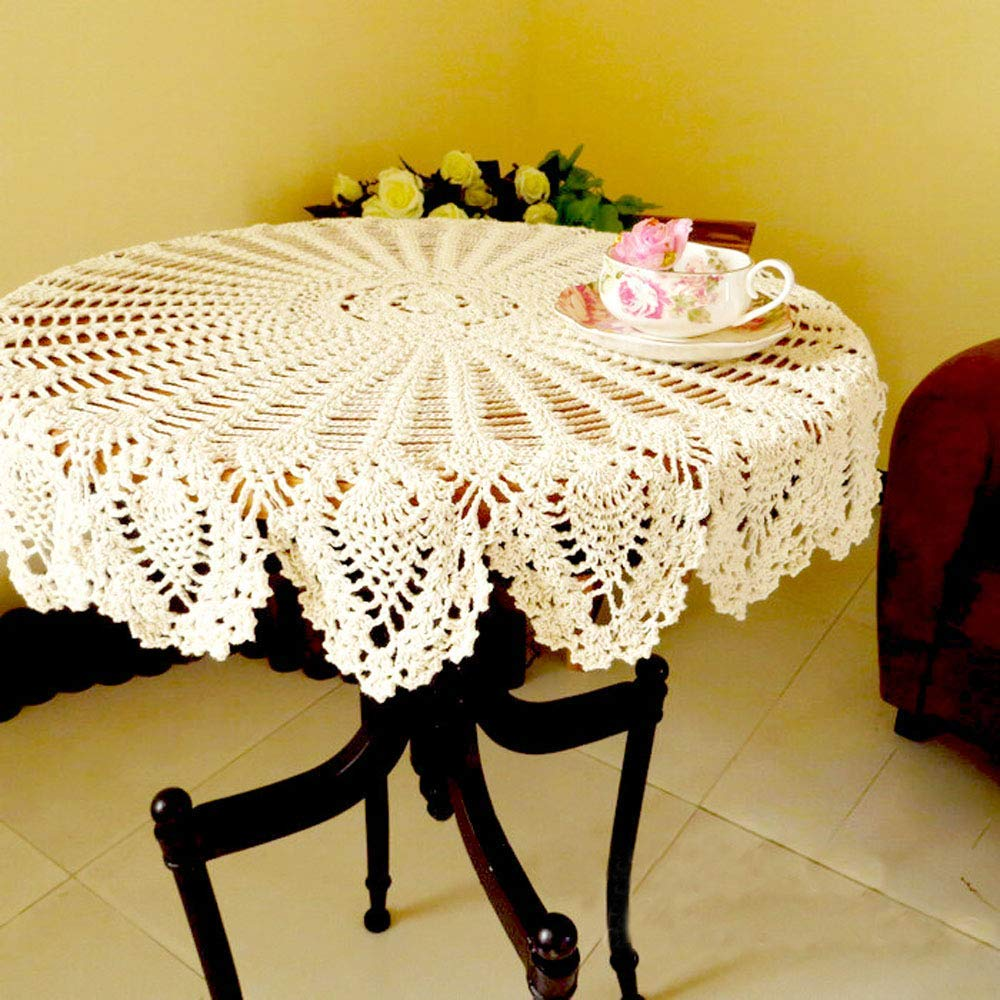 Round Table Overlays.Us 12 9 Handmade Crochet Cotton Lace Tablecloth Round White Beige Pineapple Flower Doilies Weave Table Overlays Small In Tablecloths From Home