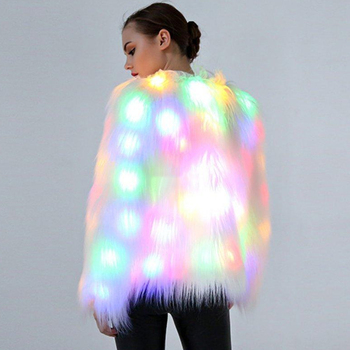 Women Faux Fur LED Light Coat Christmas Costumes Cosplay Fluffy Fur Jacket Outwear Winter Warm Festival Party Club Overcoat