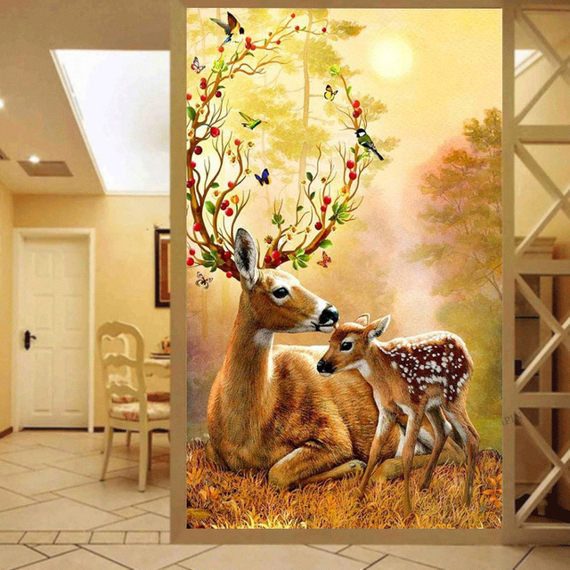 Mother And Child Elk ,Diamond Painting, Cross Stitch ,Wall Painting ...