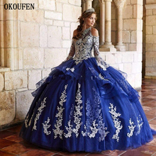 White Appliques Royal Blue Girls Quinceanera Dresses 2019 Long Poet Sleeves Halter Sweet 16 Prom Birthday Party Wear Corset Back