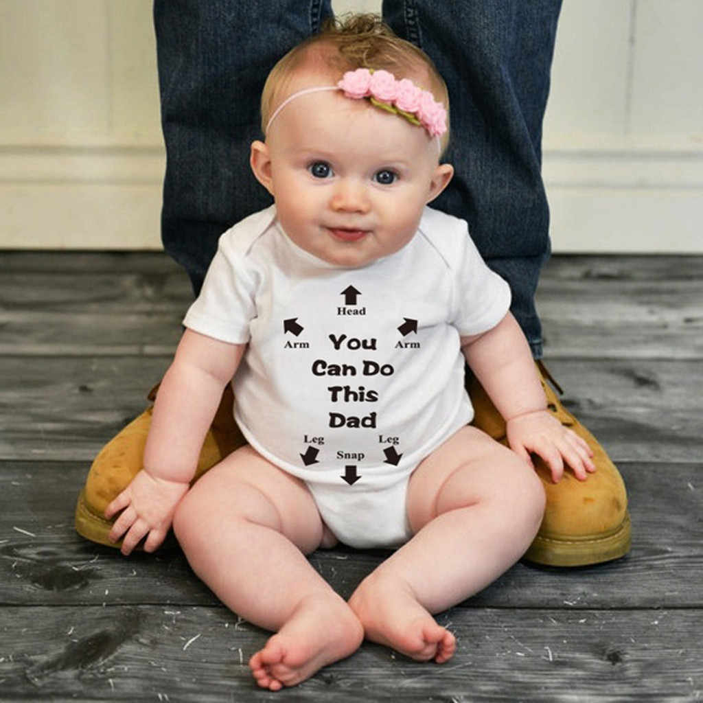 Summer 2019 Fashion Baby Bodysuit O-Neck Short Sleeve Kid Clothes Bodysuit Baby Girl Cotton Letter Casual Newborn Body For Girl