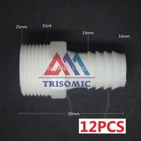 12 Pieces 16mm G3 4 Straight Connector Plastic Pipe Fitting Barbed With Thread Material PE Joiner