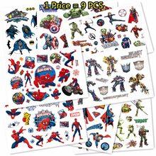 SHNAPIGN 9 unids/lote Super héroe cuerpo temporal artes Flash tatuaje pegatinas 17*10cm a prueba de agua los niños aman los juguetes tatuaje pegatinas