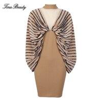 Tina Beauty Womens Leopard Strip Mesh Bodycon Dress High Neck Batwing Sleeve Mini Dress Silky Party Dresses Vestidos Streetwear