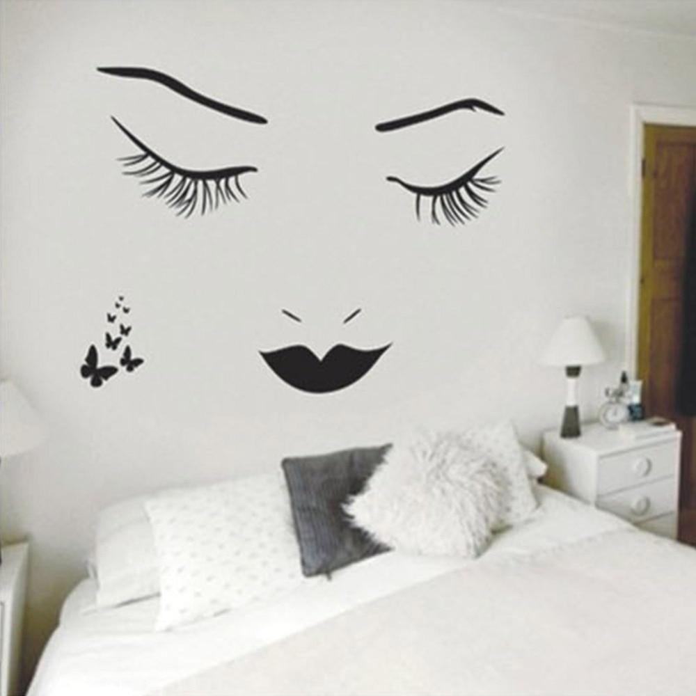 Hot long eyelashes beautiful girl wall stickers diy pvc for Beautiful beach decals for walls