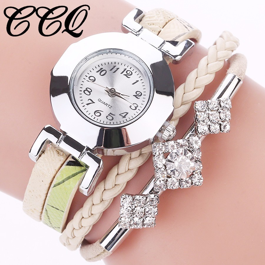 Fashion Casual Women Bracelet Watch CCQ Brand Leather Jewelr