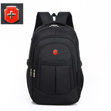 swiss 17 inch men travel waterproof bag black nylon USB char