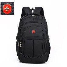 swiss 17 inch men travel waterproof bag black nylon USB charging business backpa