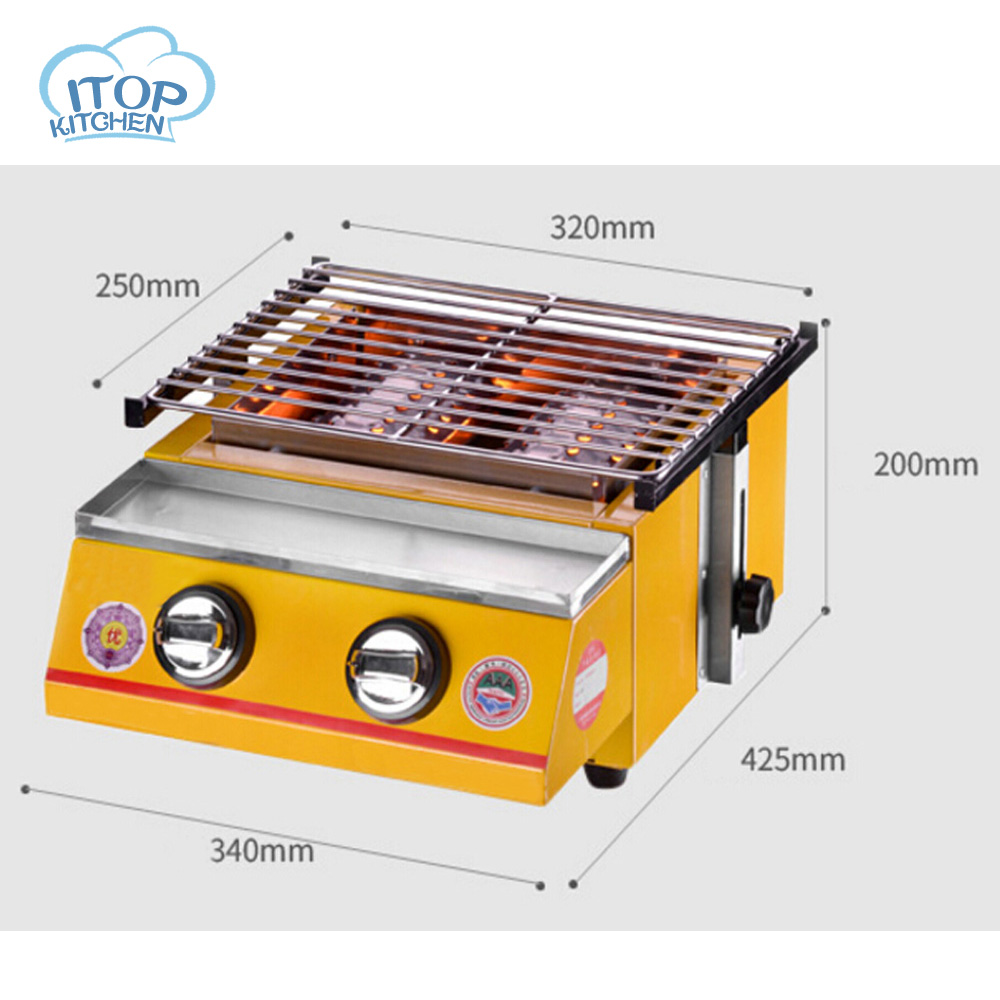 Gas BBQ Grill 2-burner Outdoor Barbecue Stove Stainless Steel 2800Pa Pressure 32*25cm Cooking Size