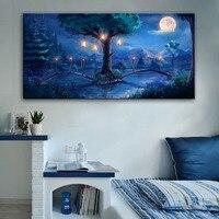 Free Shipping Stretched LED Canvas Pond And Bridge Under The Moon LED Flashing Optical Fiber Print LED Wall Art LED Decorations